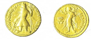 Kushan coin of king Kaniska, greek inscriptions VASILEOS KANISKOU in frontΒΑΣΙΛΕΩΣ KΑΝΗΣΚΟΥ in Greek, and the Greek goddess SELINI – ΣΕΛΗΝΗ on the rear in Greek. 1st  century.